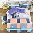 זול כרית-סטי שמיכה צבעוני רשת / דפוסים משובץ 4 חלקים פולי / כותנה 100% כותנה הדפסה תגובתית פולי / כותנה 100% כותנה כיסוי שמיכת יחידה 1 כריות מיטה
