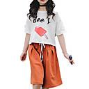זול סטים של ביגוד לבנות-סט של בגדים כותנה שרוולים קצרים אחיד / דפוס חגים פעיל / בסיסי בנות ילדים