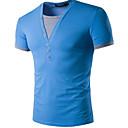 cheap Modern Shoes-Men's Cotton T-shirt - Color Block V Neck / Short Sleeve