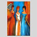 tanie Obrazy olejne-Hang-Malowane obraz olejny Ręcznie malowane - Ludzie Nowoczesny Brezentowy / Rozciągnięte płótno