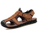 baratos Sandálias Masculinas-Homens sapatos Courino / Pele Primavera / Verão Conforto Sandálias Castanho Claro / Castanho Escuro
