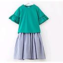 tanie Zestawy ubrań dla dziewczynek-Dzieci Dla dziewczynek Prosty Codzienny Solidne kolory Krótki rękaw Poliester Komplet odzieży Rumiany róż 150
