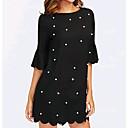 זול כפפות דוביט פרחוני-שחור מעל הברך שמלה נדן כותנה בסיסי בגדי ריקוד נשים