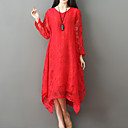 זול מחזיקים ומרכבים-אדום מידי / א-סימטרי אחיד - שמלה משוחרר משוחרר בסיסי / בוהו חגים בגדי ריקוד נשים