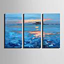 halpa Abstraktit maalaukset-Hang-Painted öljymaalaus Maalattu - Abstrakti Maisema Moderni Sisällytä Inner Frame / 3 paneeli / Venytetty kangas