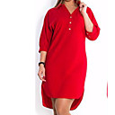 cheap Boys' Shoes-Women's Plus Size Basic Cotton Slim Shirt Dress - Solid Colored Red V Neck / Shirt Collar