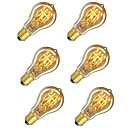 cheap LED Cabinet Lights-6pcs 60W E26 / E27 A60(A19) Warm White 2200-2700k Retro Dimmable Decorative Incandescent Vintage Edison Light Bulb 220-240V
