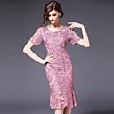 זול צִיוּר קִיר-מידי רקום, אחיד - שמלה צינור נדן בתולת ים \חצוצרה רזה מידות גדולות מתוחכם סגנון רחוב בגדי ריקוד נשים