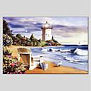 tanie Obrazy olejne-Hang-Malowane obraz olejny Ręcznie malowane - Krajobraz Nowoczesny Brezentowy / Rozciągnięte płótno