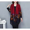cheap Wedding Decorations-Women's Long Sleeve Loose Long Cardigan - Floral, Print V Neck / Fall / Tassel