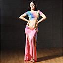 baratos Roupas de Dança do Ventre-Dança do Ventre Roupa Mulheres Espetáculo Fibra de Leite Estampa Com Fenda Manga Curta Caído Saias Blusa