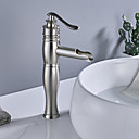 cheap Kitchen Faucets-Faucet Set - Waterfall Brushed Centerset Single Handle One HoleBath Taps