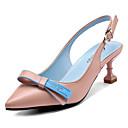 זול נעלי עקב לנשים-בגדי ריקוד נשים נעליים PU אביב נוחות סוגי כפכפים עקב סטילטו בוהן מחודדת פפיון לבן / שחור / ורוד