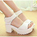 ieftine Tocuri de Damă-Pentru femei Pantofi PU Vară Confortabili / Balerini Basic Sandale Toc Îndesat Alb / Negru