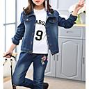 זול סטים של ביגוד לבנות-סט של בגדים כותנה קצר שרוול ארוך פרחוני / רקמה בנות ילדים / חמוד