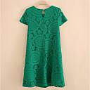זול סטים של ביגוד לבנות-מעל הברך אחיד - שמלה סווינג מידות גדולות בגדי ריקוד נשים / קיץ