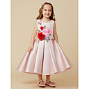 cheap Bakeware-Ball Gown Knee Length Flower Girl Dress - Satin Sleeveless Jewel Neck with Lace / Flower by LAN TING BRIDE®