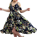 cheap Girls' Dresses-Girl's Floral Dress, Polyester Summer Sleeveless Floral Navy Blue