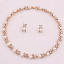 זול סטים של תכשיטים-בגדי ריקוד נשים סט תכשיטים - דמוי פנינה, ציפוי זהב פרח פשוט, אופנתי לִכלוֹל סטי תכשיטי כלה זהב עבור חתונה / משרד קריירה