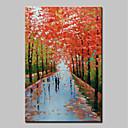 tanie Obrazy olejne-Hang-Malowane obraz olejny Ręcznie malowane - Abstrakcja / Krajobraz Nowoczesny Brezentowy / Rozciągnięte płótno