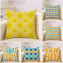 cheap Pillow Covers-6 pcs Cotton / Linen Pillow Cover / Novelty Pillow / Pillow Case, Plaid / Checkered / Geometric / Color Block Geometric / Classical