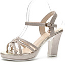 זול סניקרס לנשים-בגדי ריקוד נשים נעליים PU אביב נוחות סנדלים עקב עבה בוהן עגולה זהב / שחור / כסף