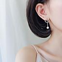 tanie Modne kolczyki-Długie Kolczyki drop - Perła, Srebro standardowe Prosty, Koreański, Moda Srebrny Na Prezent / Party Wieczór