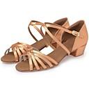 זול נעליים לטיניות-בנות נעליים לטיניות / סניקרס לריקוד / נעליים מודרניות משי עקבים עניבת פרפר עקב עבה מותאם אישית נעלי ריקוד שחור / חום כהה / עירום / עור