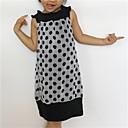 baratos Vestidos para Meninas-bebê Menina de Vestido Diário Poá Todas as Estações Algodão Sem Manga Pontos Branco Preto