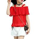 tanie Zestawy ubrań dla dziewczynek-Dzieci Dla dziewczynek Aktywny Święto Solidne kolory Pofałdowany Krótki rękaw Bawełna Komplet odzieży / Śłodkie