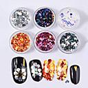 abordables Calcomanías de Uñas-6pcs Brillante Diseñado Especial / 6 colores arte de uñas Manicura pedicura Glitters / Nail Glitter Casual / Diario