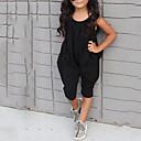 olcso Lány divat-Pamut Egyszínű Tavasz Nyár Ujjatlan Lány Ruházat szett Fekete