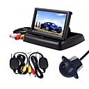 cheap Daytime Running Lights-ZIQIAO 3 in 1 Wireless Parking Camera Monitor Video System Folding Foldable Car Monitor With Rear View Camera Wireless Kit