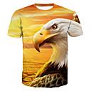 preiswerte Clutches & Abendtaschen-Herrn Tier - Grundlegend Baumwolle T-shirt, Rundhalsausschnitt Druck / Kurzarm