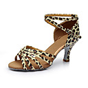 cheap Latin Shoes-Women's Latin Shoes Satin / Leatherette Sandal / Heel Splicing Customized Heel Customizable Dance Shoes Silver / Leopard / Nude / Indoor