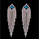 cheap Earrings-Women's Crystal Tassel Long Stud Earrings Hoop Earrings - Silver Plated Bohemian, Fashion, Boho Silver For Wedding Ceremony