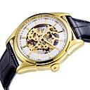 ieftine Ceasuri Mecanice-ASJ Bărbați Mecanism automat ceas mecanic Ceas Elegant Chineză Gravură scobită Piele PU Bandă Lux Modă Negru