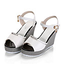 cheap Necklaces-Women's Shoes PU(Polyurethane) Summer Comfort Sandals Wedge Heel Peep Toe White / Black / Wedge Heels