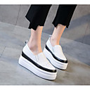 cheap Women's Slip-Ons & Loafers-Women's Shoes Cowhide Spring / Fall Comfort Loafers & Slip-Ons Creepers Black / Beige
