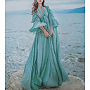 cheap Natural Color Hair Weaves-Women's Vintage Casual Swing Maxi Dress, Solid Deep V Spring Summer High Rise