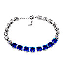 cheap Bracelets-Women's Crystal / Cubic Zirconia Chain Bracelet - Crystal, Zircon, Silver Plated Classic, Fashion, Elegant Bracelet Dark Blue For Party / Daily