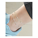 cheap Anklet-Beaded Anklet - Double Layered, Vintage Gold / Silver For Daily / Holiday / Women's