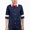 billige Veggklistremerker-Barn Gutt Sløyfe Trykt mønster Langermet Bomull Skjorte
