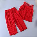 זול סטים של ביגוד לבנות-סט של בגדים כותנה ללא שרוולים שכבות אחיד חגים פעיל בנות ילדים / חמוד