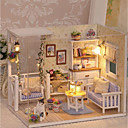 cheap Doll Houses-3D Wooden Miniaturas Dollhouse Dollhouse Exquisite Lovely Romance Pieces Kid's Adults' Gift