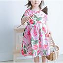זול בובות-שמלה פוליאסטר סתיו שרוולים קצרים יומי פרחוני הילדה של בסיסי ורוד מסמיק