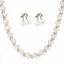 tanie Zestawy biżuterii-Damskie Perła Biżuteria Ustaw - Sztuczna perła, Cyrkon Kształt listka Moda Zawierać Kolczyki sztyfty Łańcuszki na szyję Biały Na Ślub Party Wieczór