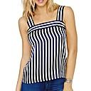 baratos Perucas de Cabelo Natural-Mulheres Camiseta Básico Listrado