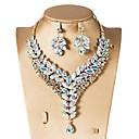 זול סטים של תכשיטים-זירקונה מעוקבת סט תכשיטים - טיפה, פרח קלסי, וינטאג', אלגנטית לִכלוֹל עגילי טיפה שרשראות מחרוזת סטי תכשיטי כלה אדום / ירוק / כחול עבור חתונה Party ארוסים