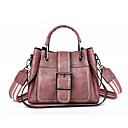 cheap Totes-Women's Bags PU Leather Tote Buttons Red / Blushing Pink / Brown